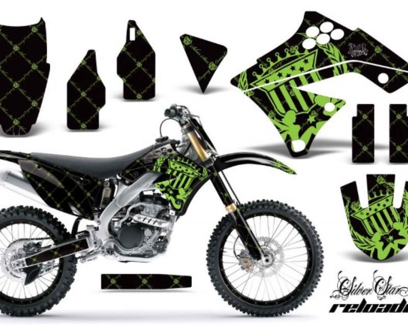 AMR Racing Graphics MX-NP-KAW-KX250F-09-12-SSR G K Kit Decal Sticker Wrap + # Plates For Kawasaki KX250F 2009-2012áRELOADED GREEN BLACK
