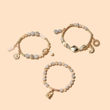 3pcs Lock Charm Beaded Bracelet