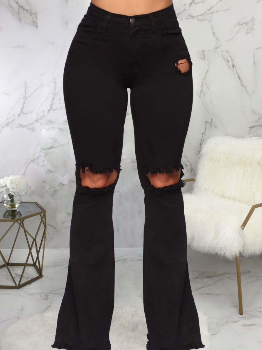 LW Lovely Casual Hollow-out Black Jeans