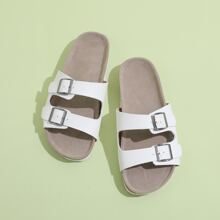 Buckle Decor Slide Sandals