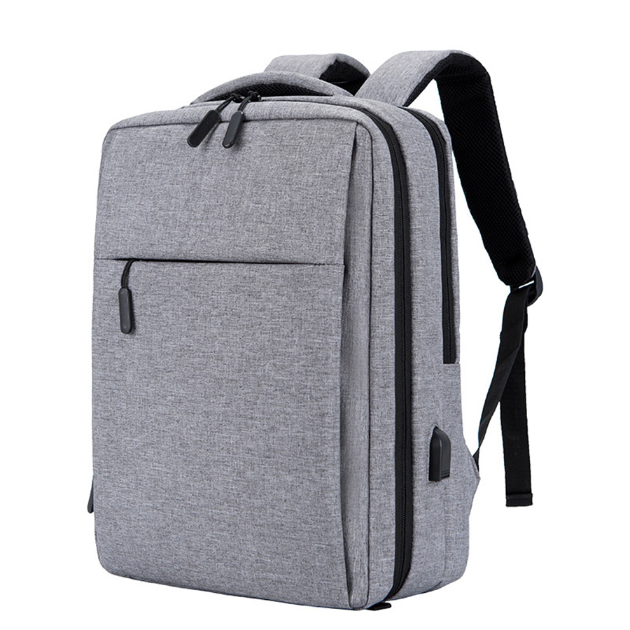 Business Style Solid Color Multi Layer Polyester Laptop Backpack