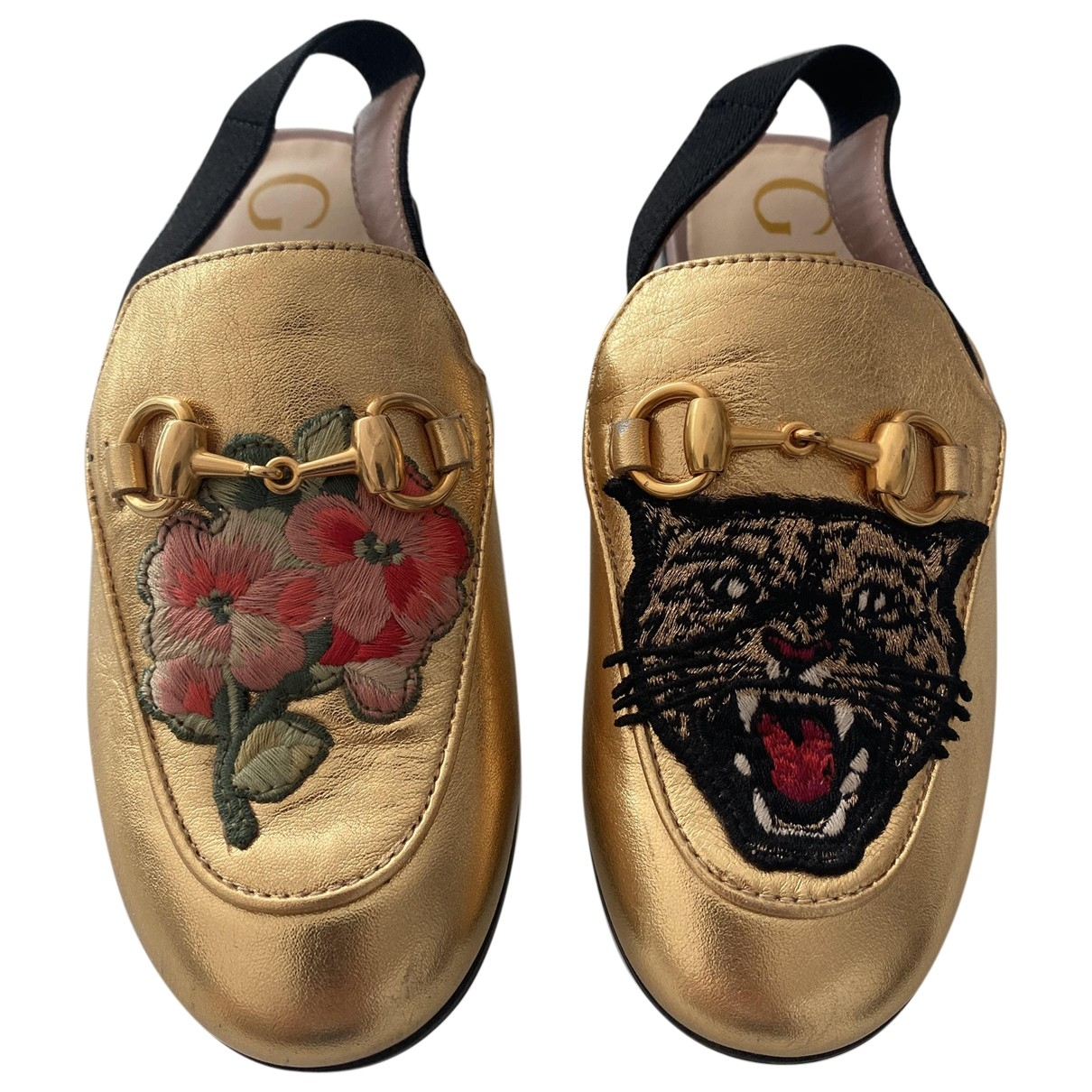 Gucci \N Gold Leather Flats for Kids 27 EU