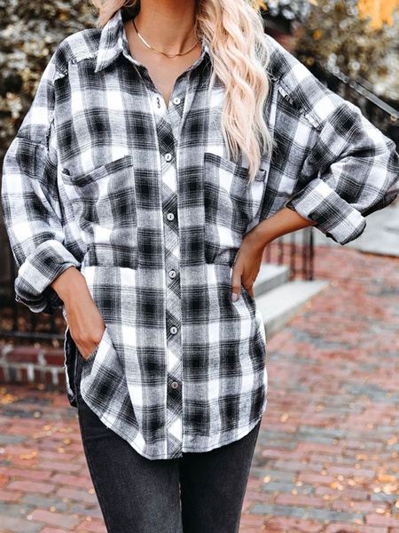 Milanoo Women\'s Blouse Black Polyester Turndown Collar Long Sleeve Polyester Academic Plaid Shirt