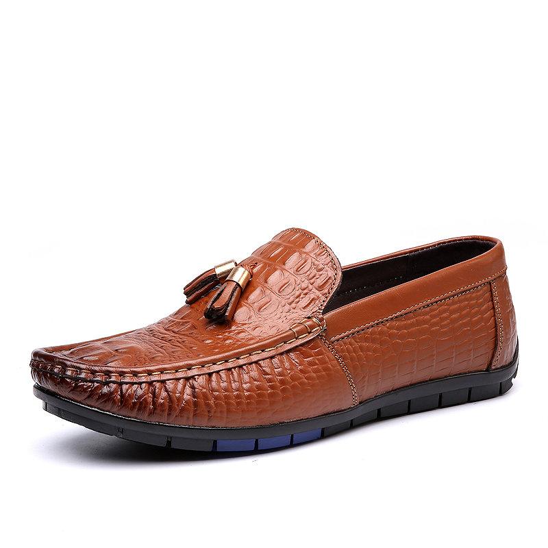 Men Genuine Leather Crocodile Pattern Slip On Soft Driving Loafers