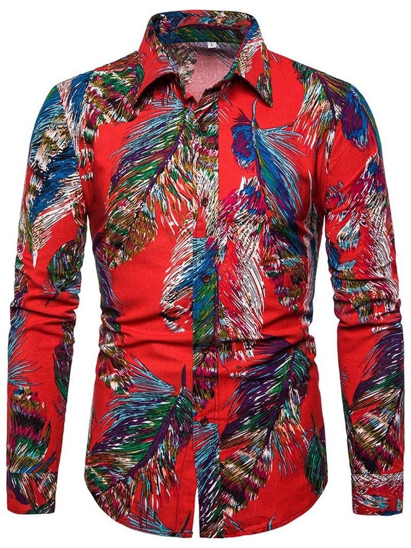 Ericdress Lapel Casual Color Block Single-Breasted Mens Slim Shirt