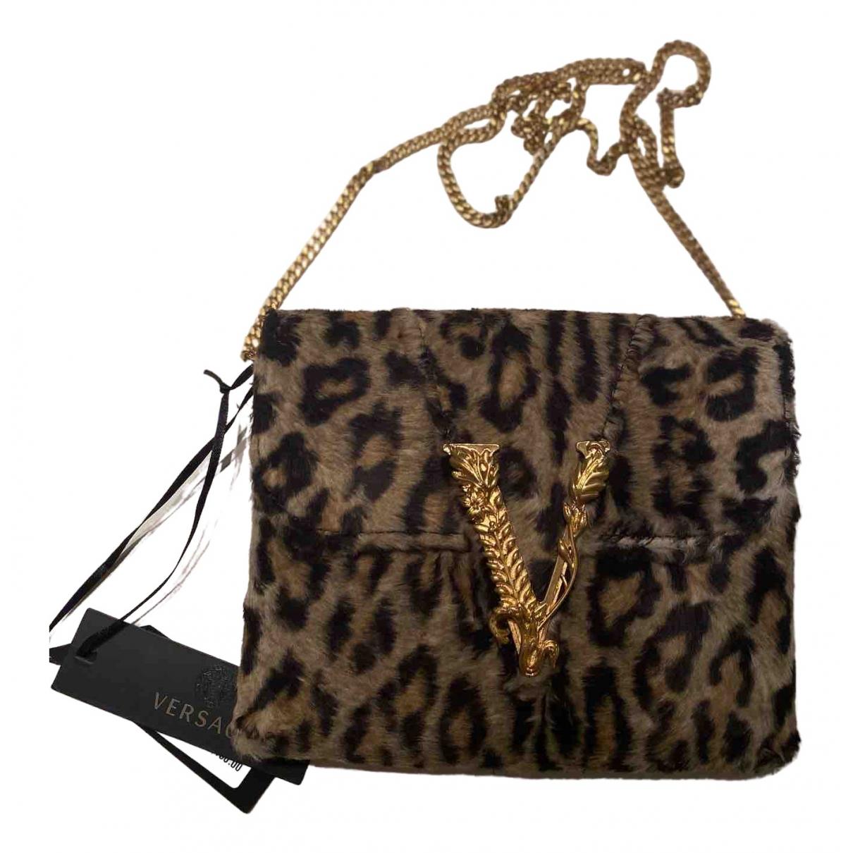 Versace Virtus Brown Faux fur handbag for Women \N