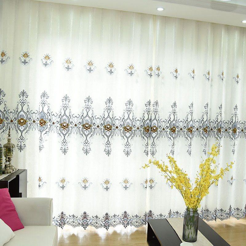 European Elegant Chiffon Delicate Embroidered Custom Grommet Sheer Curtains