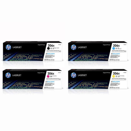HP Color LaserJet Pro MFP M283cdw HP 206X W2110X W2111X W2112X W2113X Toner Cartridge Combo High Yield BK/C/M/Y