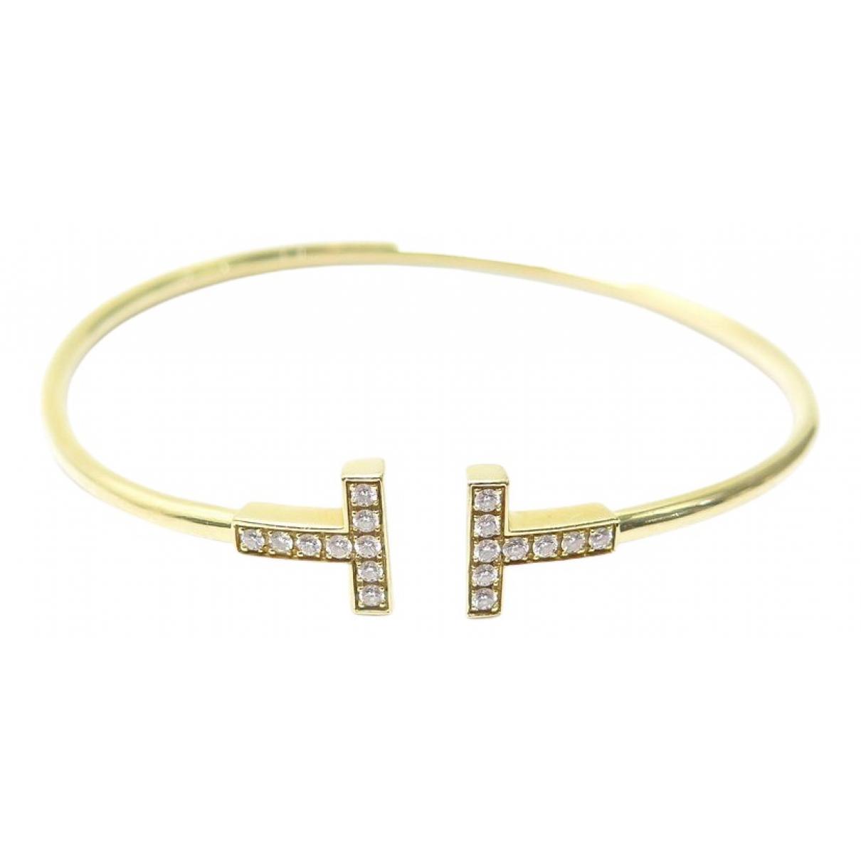 Tiffany & Co - Bracelet Tiffany T pour femme en or jaune - dore