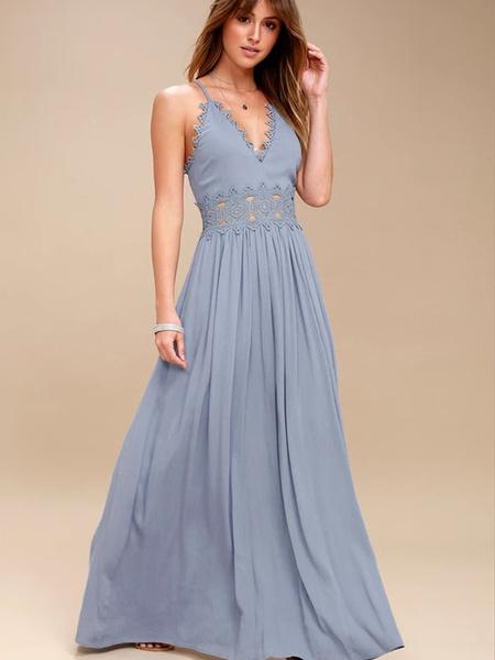 Milanoo Vestido largo Azul celeste claro Moda Mujer sin mangas de poliester Vestidos de encaje Color liso con tirantes Atractiva Verano
