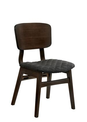 BM188402 Solid Wood and Fabric Side Chairs with Fin Style Legs  Pack of Two  Gray and