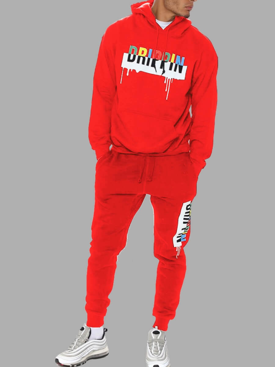 LW Lovely Casual Hooded Collar Letter Print Red Men Two-piece Pants Set