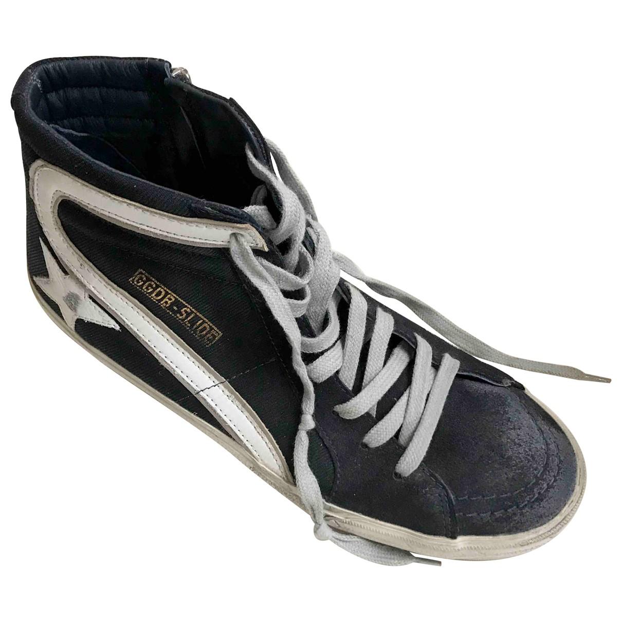 Golden Goose Slide Sneakers in  Blau Leinen