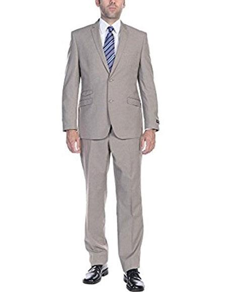 Mens Ticket Pocket Mens Slim Fit 2 Piece Single Breasted 2-Button Suit