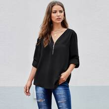 Half Zipper Roll Up Sleeve Blouse