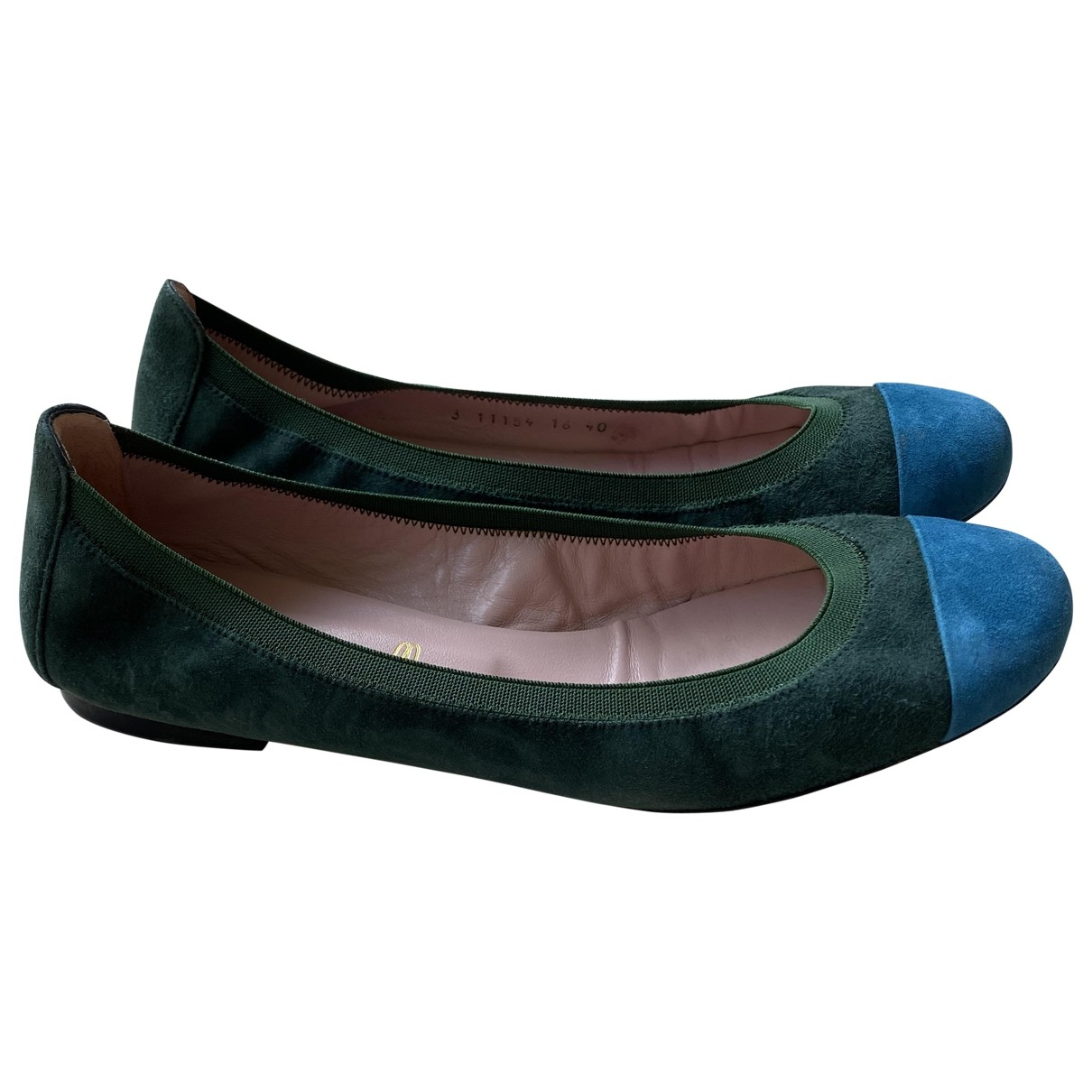 Pretty Ballerinas \N Green Suede Ballet flats for Women 40 EU