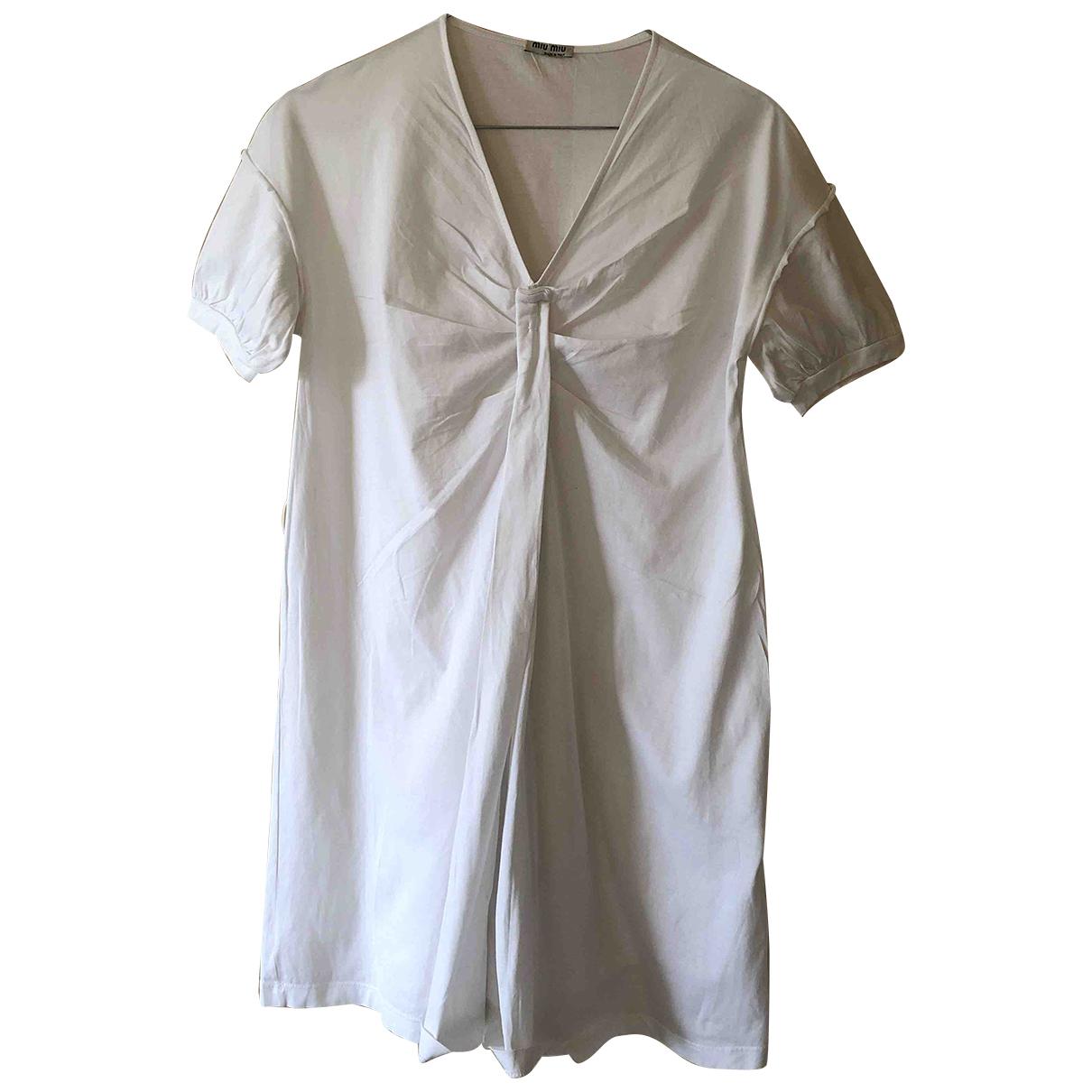 Miu Miu \N Kleid in  Weiss Baumwolle