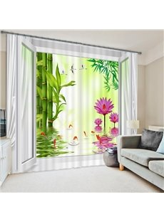 Refreshing Pink Water Lily Green Bamboo Printing 3D Curtain for Living Room