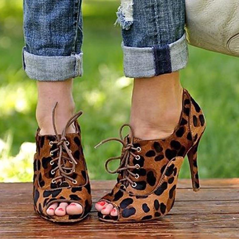 Ericdress Leopard Print Peep Toe Stiletto Heel Pumps