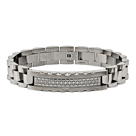 Mens Cubic Zirconia Stainless Steel Chain Bracelet, One Size , No Color Family