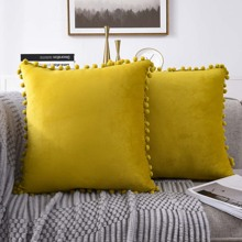 1pc Pom Pom Decor Cushion Cover Without Filler