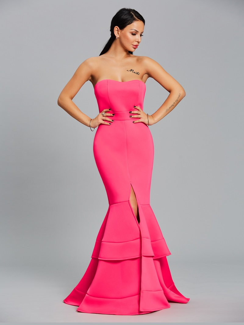 Ericdress Off Shoulder Tiered Mermaid Maxi Dress