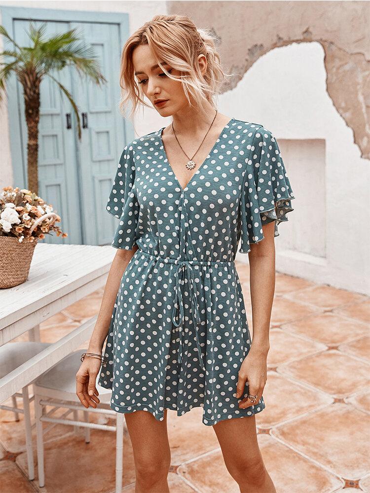 Dot Print Ruffled Sleeves V-neck Casual Jumpsuit For Women