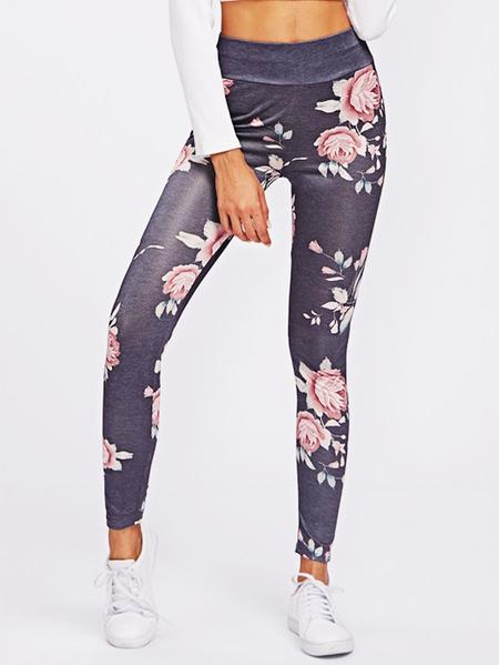 Yoins Active Rose Printed High Waisted Yoga Leggings in Grey