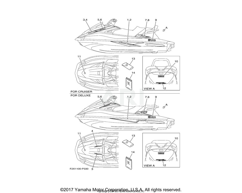 Yamaha OEM F2X-U417J-10-00 GRAPHIC 8 (RH) | CRUISER WHITE