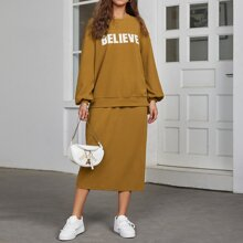 Letter Embroidered Drop Shoulder Pullover & Split Back Skirt Set