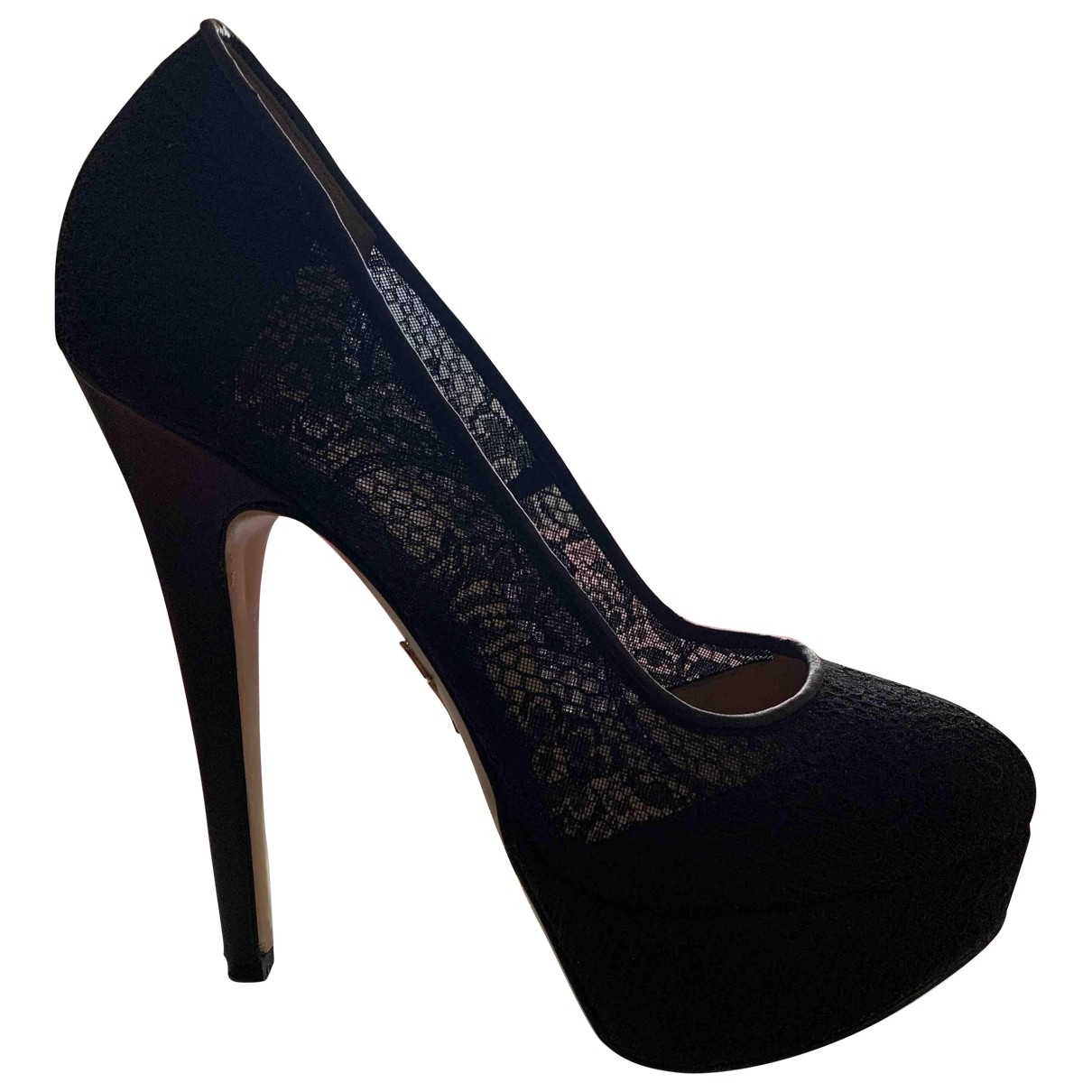 Charlotte Olympia Dolly Black Cloth Heels for Women 37 EU