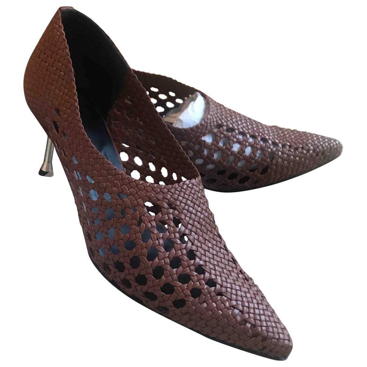 Souliers Martinez - Escarpins   pour femme en cuir - marron