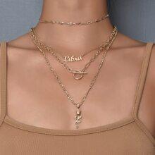 2 Stuecke mehrschichtige Halskette mit Buchstaben und Rose Dekor