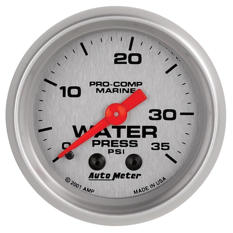 AutoMeter GAUGE; WATER PRESS; 2 1/16in.; 35PSI; MECHANICAL; MARINE SILVER