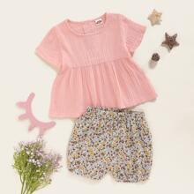 Einfarbiges Babydoll Top & Shorts mit Bluemchen Muster