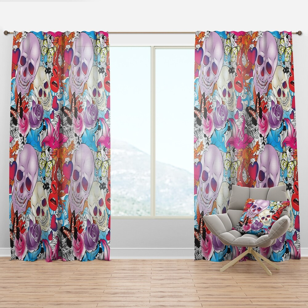 Designart 'Pattern with Hearts, Skulls & Flowers' Bohemian & Eclectic Curtain Panel (50 in. wide x 95 in. high - 1 Panel)