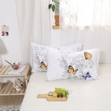 1pair Butterfly Print Pillowcase Without Filler
