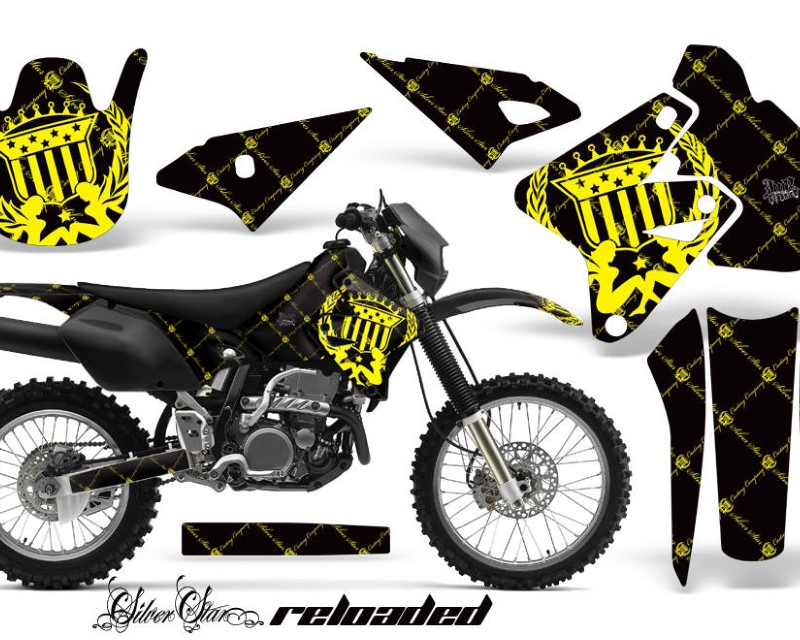 AMR Racing Dirt Bike Graphics Kit Decal Sticker Wrap For Suzuki DRZ400S 2000-2018áRELOADED YELLOW BLACK
