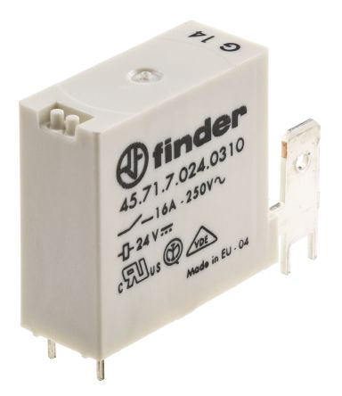 Finder , 24V dc Coil Non-Latching Relay SPNO, 16A Switching Current PCB Mount Single Pole