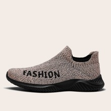 Zapatillas deportivas tejidas sin cordones de hombres con estampado de letra