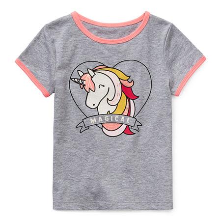 Okie Dokie Toddler Girls Round Neck Short Sleeve Graphic T-Shirt, 4t , Gray