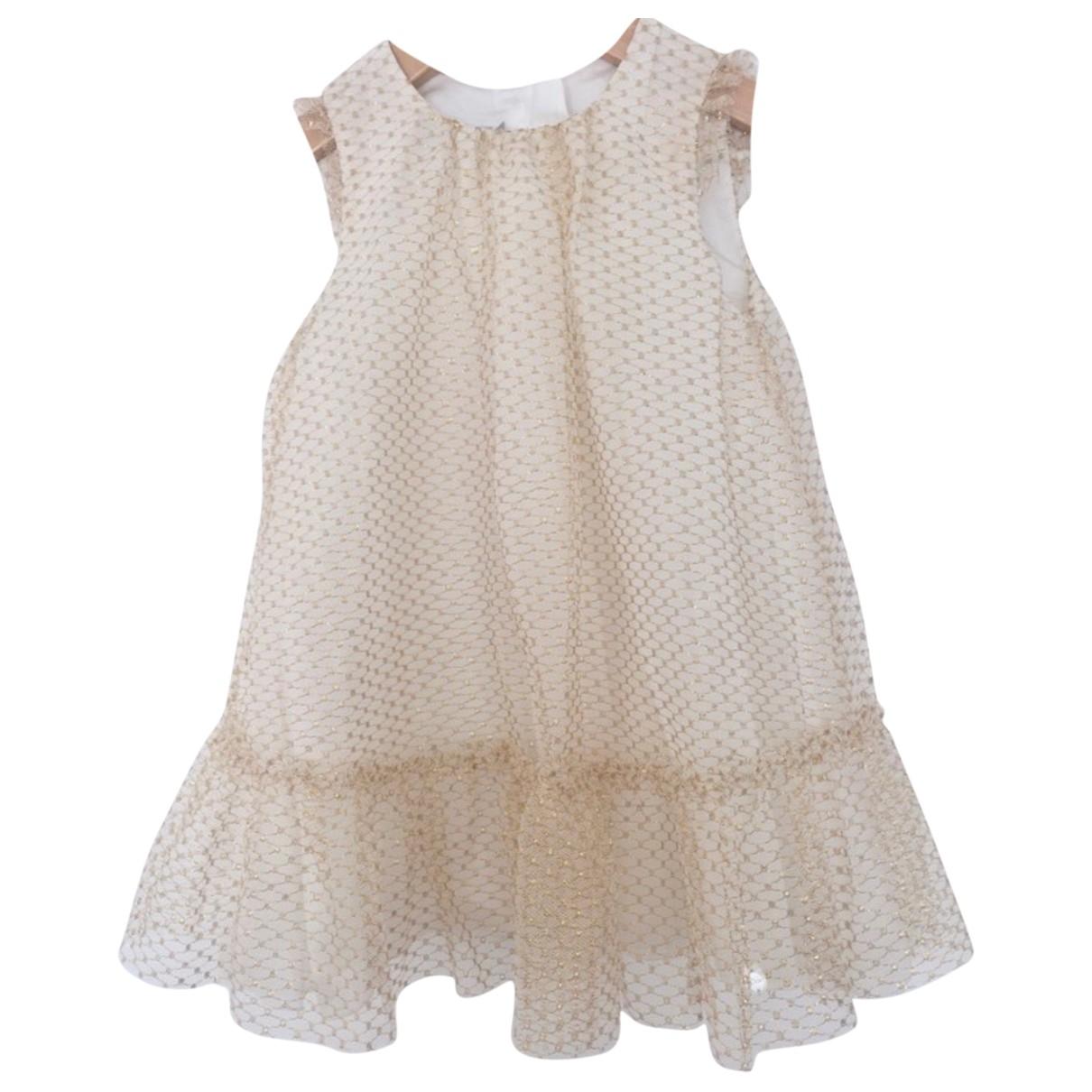 Baby Dior - Robe    pour enfant en a paillettes - ecru