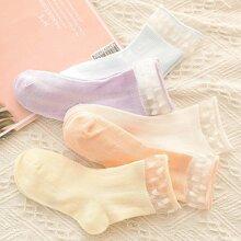5 Paare Baby Socken mit Spitzenbesatz