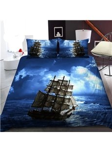 A Sailboat on The Blue Sea 3D Printed Polyester 1-Piece Warm Quilt