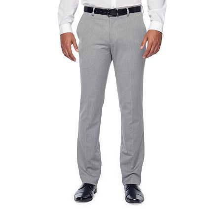 JF J.Ferrar Light Gray Texture Mens Stretch Super Slim Fit Suit Pants, 38 30, Gray