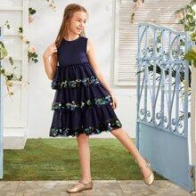 Maedchen Kleid mit Kontrast Pailletten Detail und mehrschichtigem Netzstoff