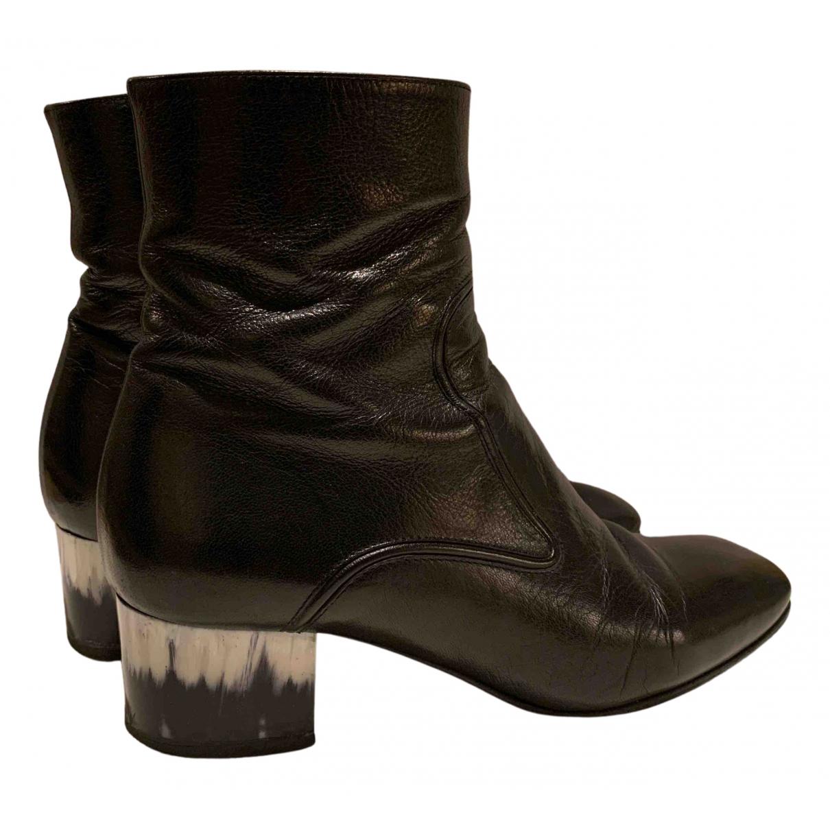 Dries Van Noten - Boots   pour femme en cuir - noir