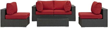 Sojourn Collection EEI-1882-CHC-RED-SET 5 PC Outdoor Patio Sectional Set with Powder Coated Aluminum Frame  Synthetic Rattan Weave Material and