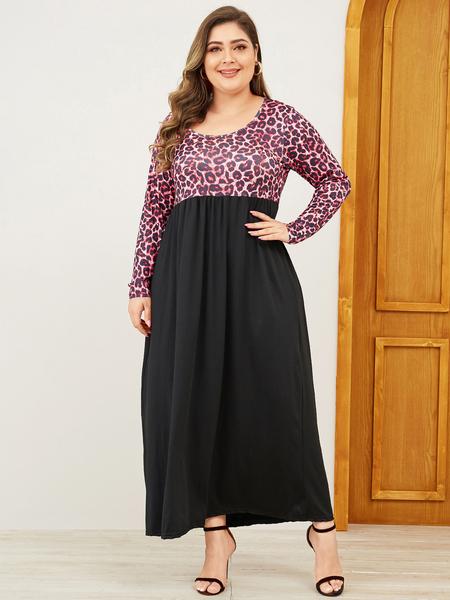 Yoins Plus Size Leopard Long Sleeves Dress
