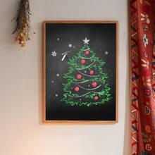 Pintura de pared con estampado de arbol de navidad sin marco